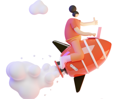 woman on rocket
